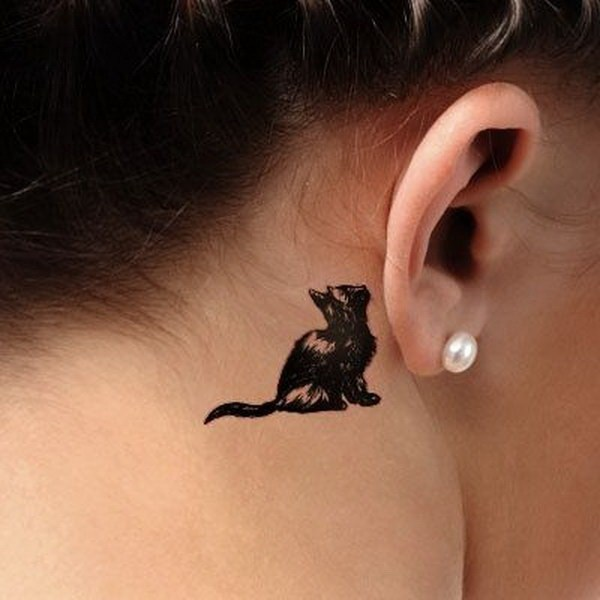 27 Behind-the-ear Cat Tattoo for Women