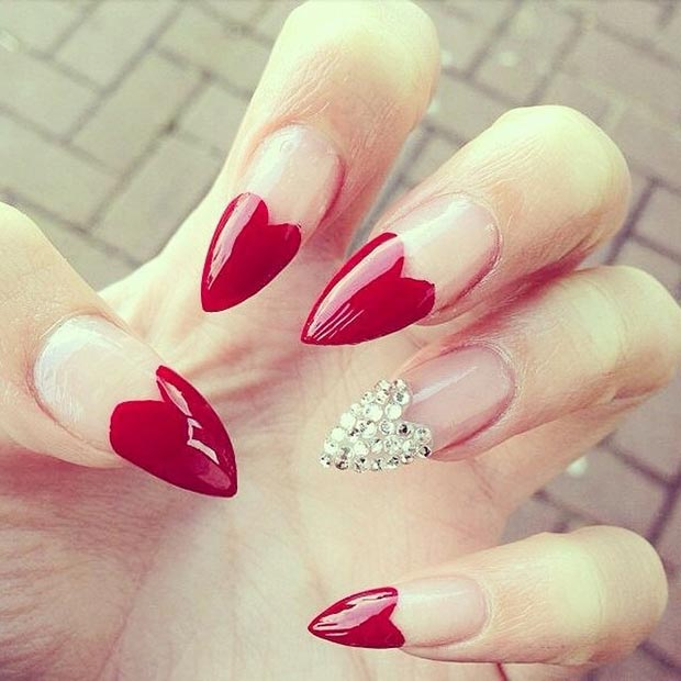27 Red Heart Tip Stiletto Nails