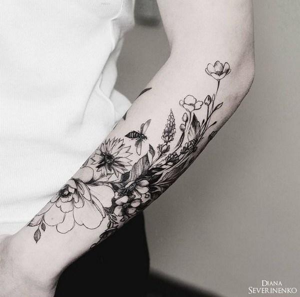 51 pretty flower tattoo ideas page 27 foliver blog 27 vintage floral tattoo on half arm mightylinksfo