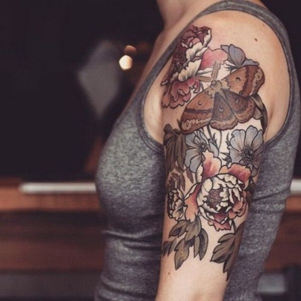 28 Brown Ink Floral Tattoo