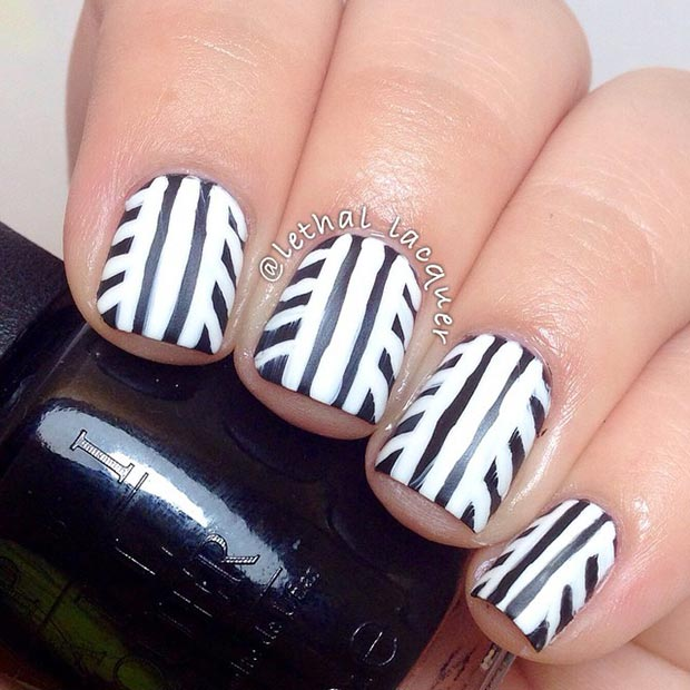 50 best black and white nail designs page 28 foliver blog 28 interesting design for short nails source black and white nail prinsesfo Image collections