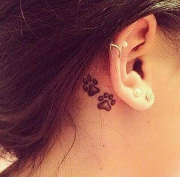 29 Cute Dog Paw Ear Tattoo Idea
