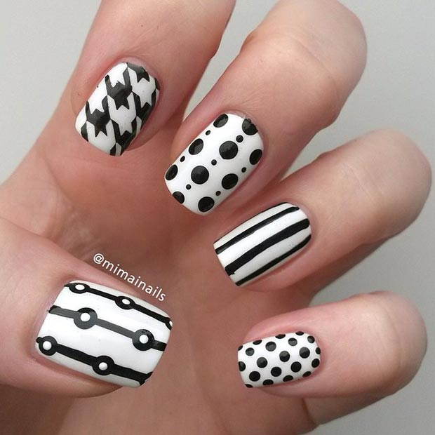 50 Best Black and White Nail Designs – Page 29 – Foliver blog