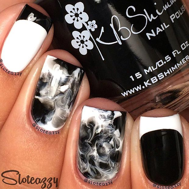 50 Best Black And White Nail Designs Page 30 Foliver Blog