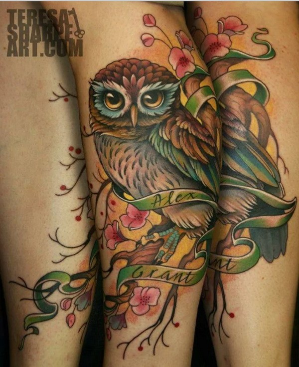 31 Owl and Cherry Blossom Tattoo