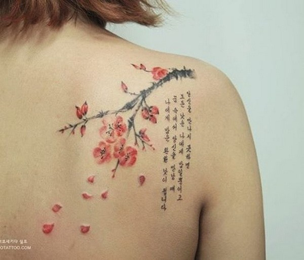 32 Gorgeous Cherry Blossom Tattoo on Shoulder