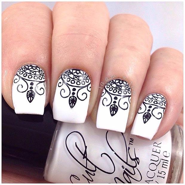 32 Stamped Henna Nails