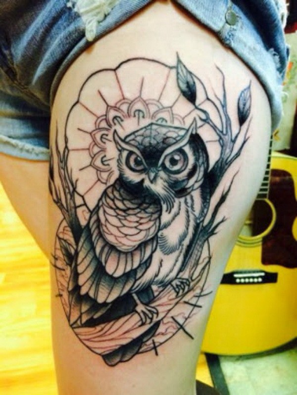 33 Beautiful Owl Tattoo for Thigh