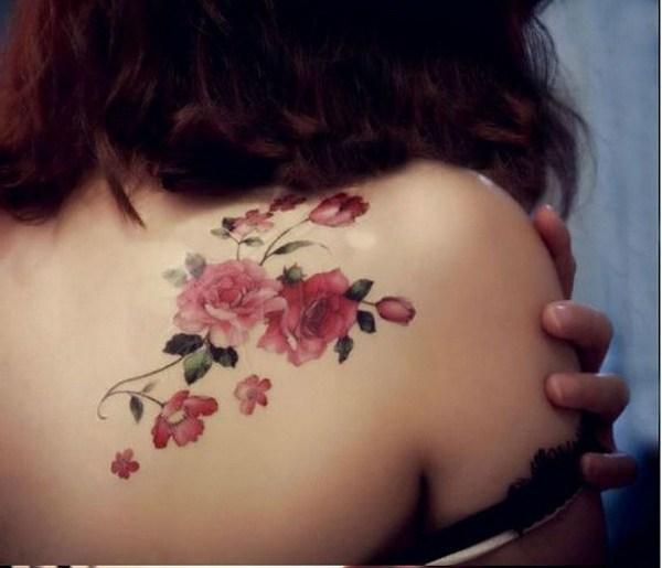 33 Pink Flower Shoulder Tattoo
