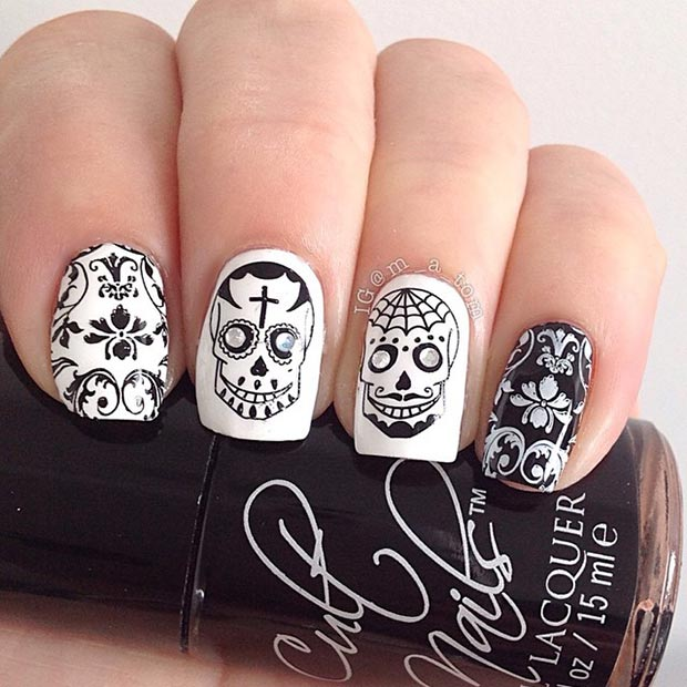 50 Best Black And White Nail Designs Page 33 Foliver Blog