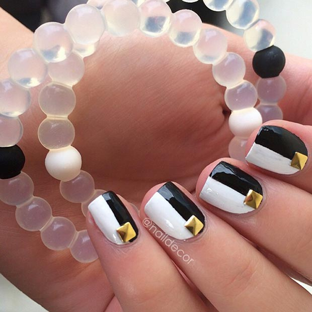 34 Black and White Nails and Gold Studs
