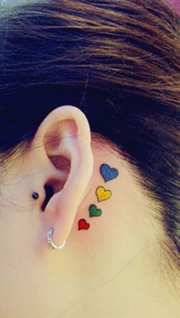 34 Colorful Heart Ear Tattoo Idea
