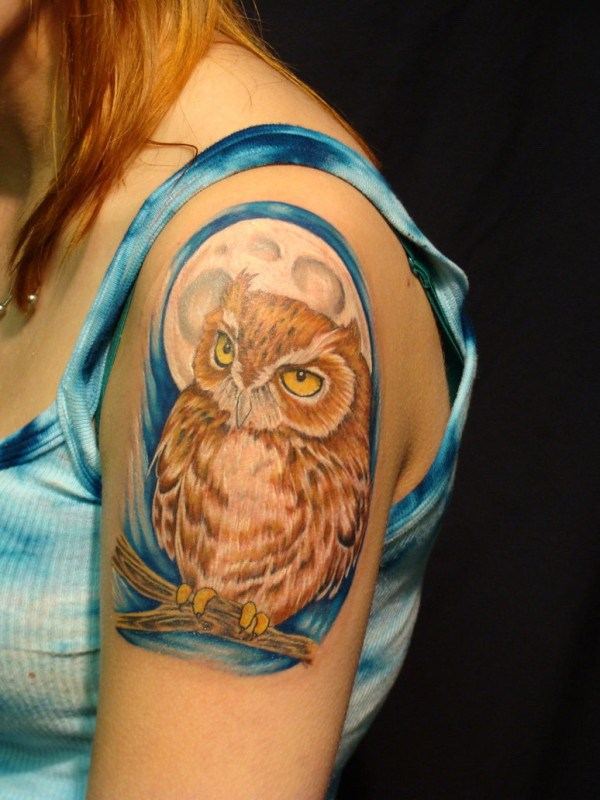 35 Girl Shoulder Owl Tattoo
