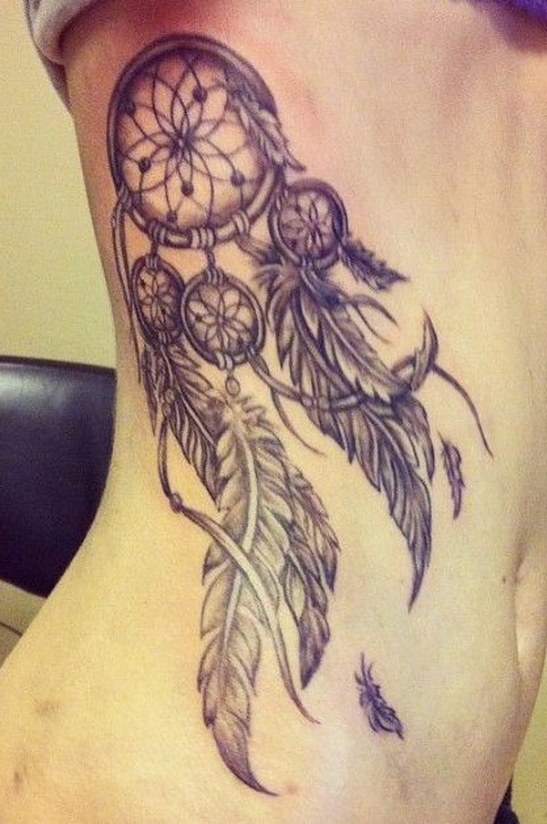 35 Vintage dreamcatcher tattoo design on side back