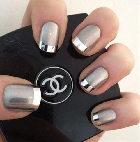 36 Grey And Silver Matte Nails
