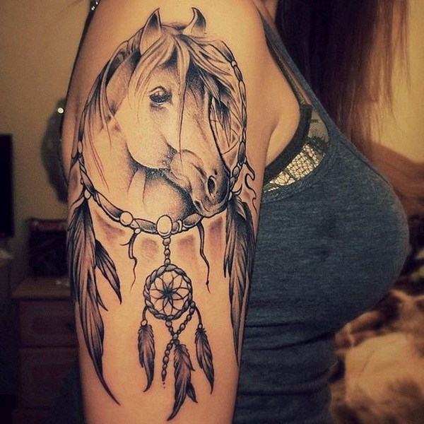36 Horse dreamcatcher tattoo on the arm