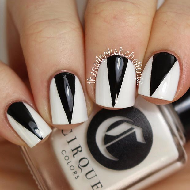 36 Triangle Nail Design - 50 Best Black And White Nail Designs – Page 36 – Foliver Blog