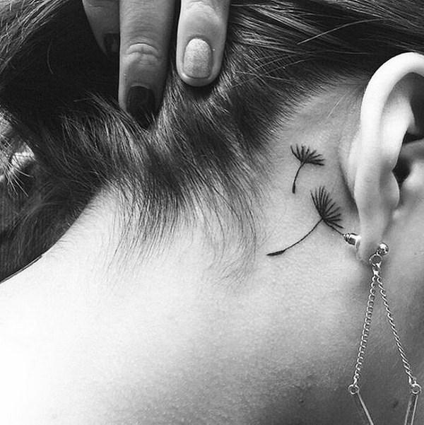 37 Small Dandelion Tattoo Behind The Ear