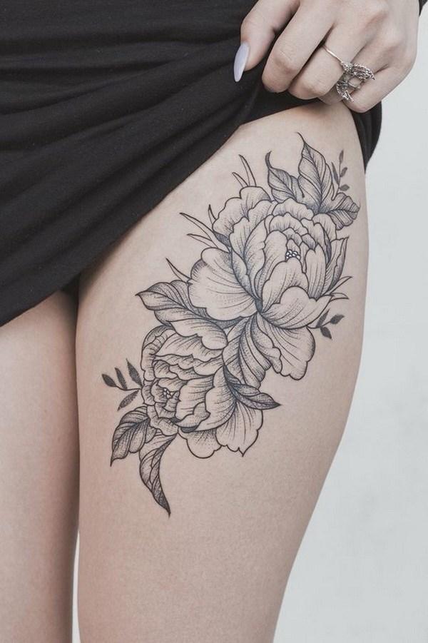 38 Peony flower thigh tattoo