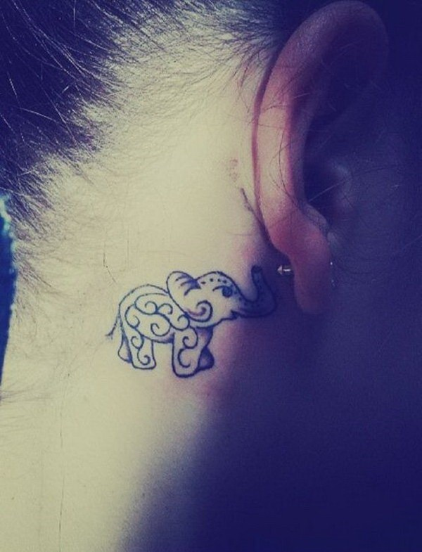 39 Behind The Ear Elephant Tattoo
