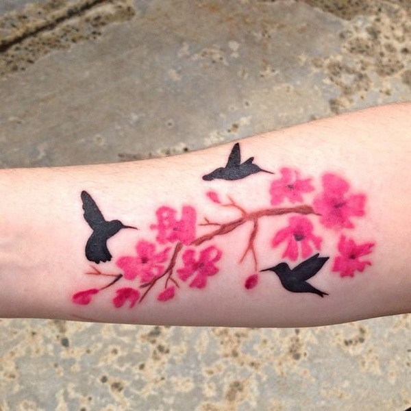 39 Cherry Blossom Tattoo on The Shoulders with Two Birds