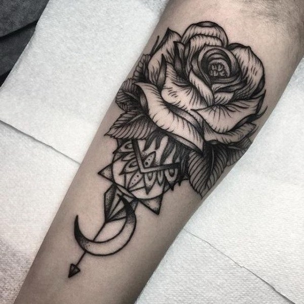 4 Black and White Rose Tattoo