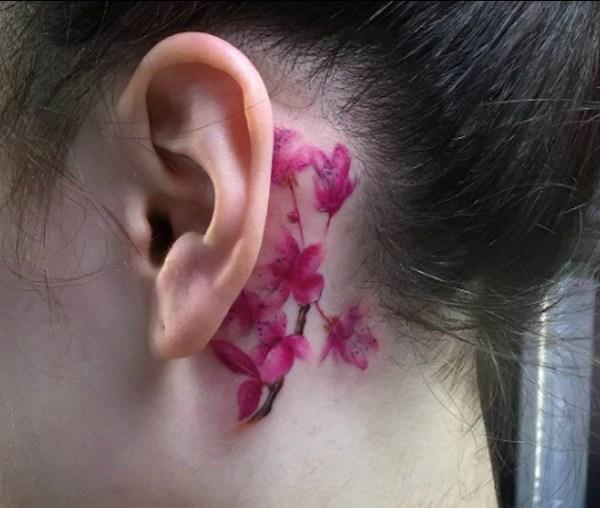 4 Cherry Blossom Spine Tattoo Design