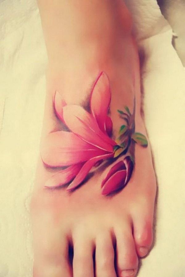 40 Single Cherry Blossom Tattoo on Foot