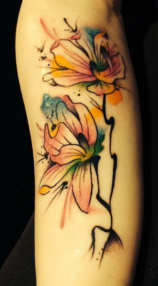 40 Water Color Magnolia Tattoo