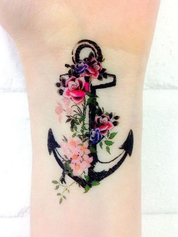 41 Color Flowers and Anchor Wrist Tattoo for Women