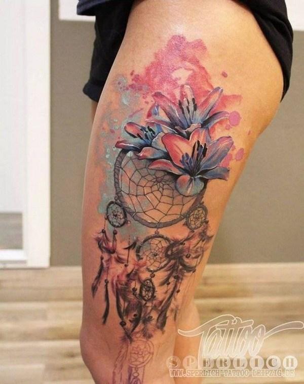 41 Watercolor dream catcher tattoos