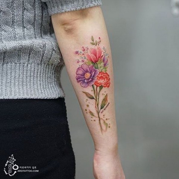 42 Floral Tattoo on Forearm