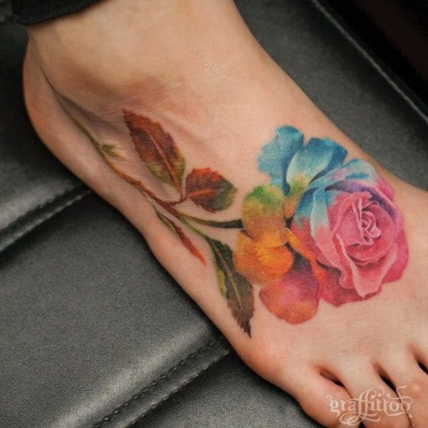 43 Giant Watercolor Rose Tattoo on Foot