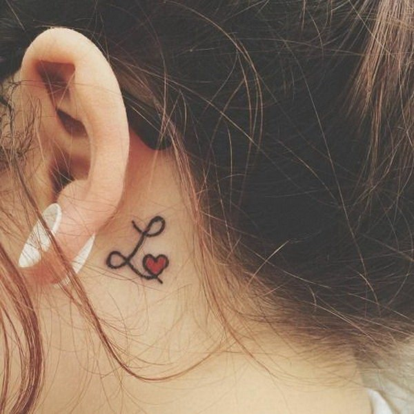 43 Letter L with a Red Heart Behind The Ear Tattoo