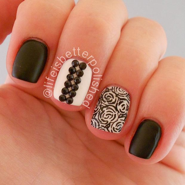 43 Stones and Roses Nail Design