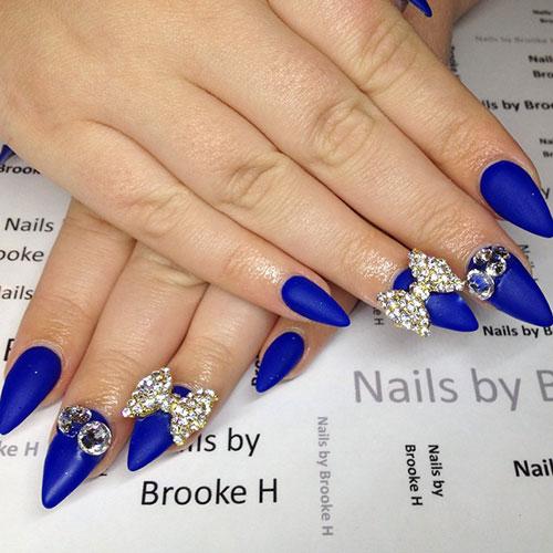 44 Blue Matte Stiletto Nails