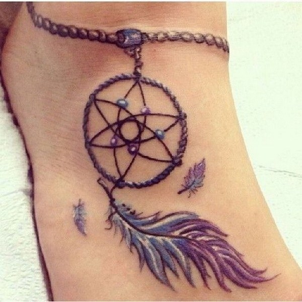 44 Dream Catcher Foot Tattoo Design with a Chain on Ankle