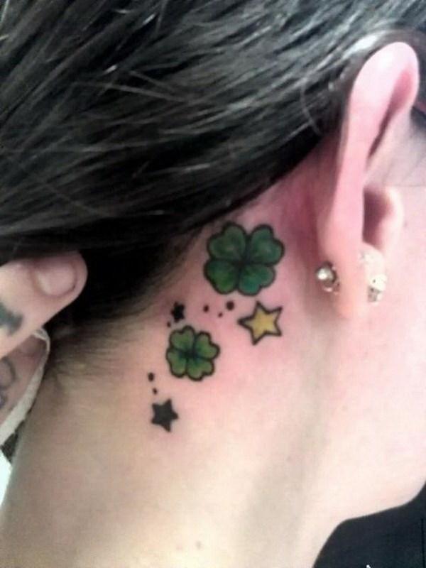 44 Four Leaf Clover Ear Tattoo