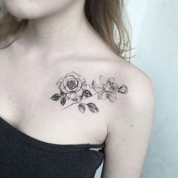 45 Blackwork Collarbone Rose