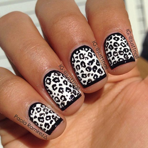 50 best black and white nail designs page 45 foliver blog 45 cheetah nails prinsesfo Images