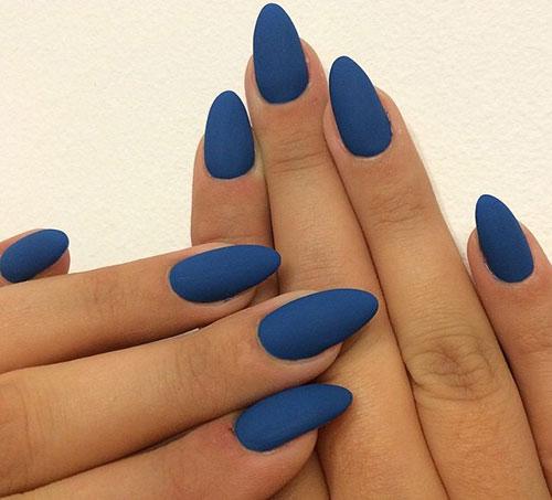 46 Long Blue Matte Stiletto Nails