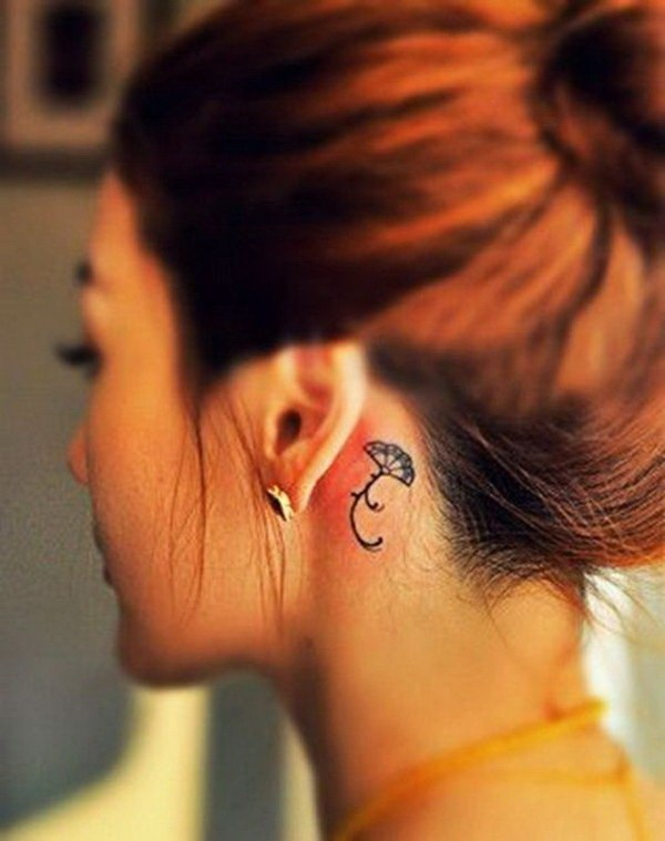 46 Pretty Fan Behind the Ear Tattoo Deisgn