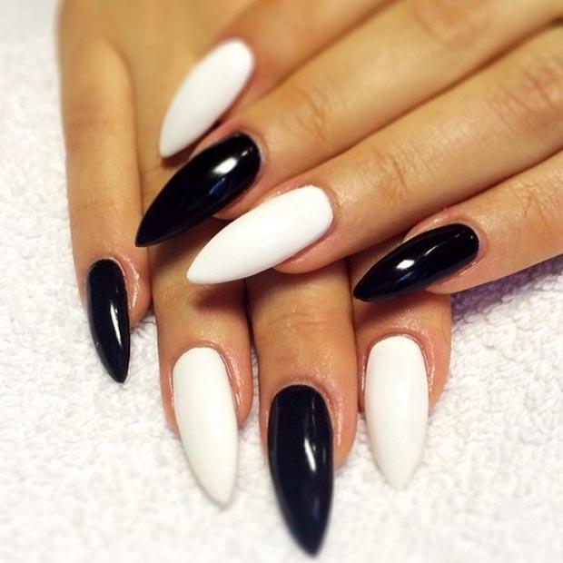 47 Monochrome Stiletto Nails