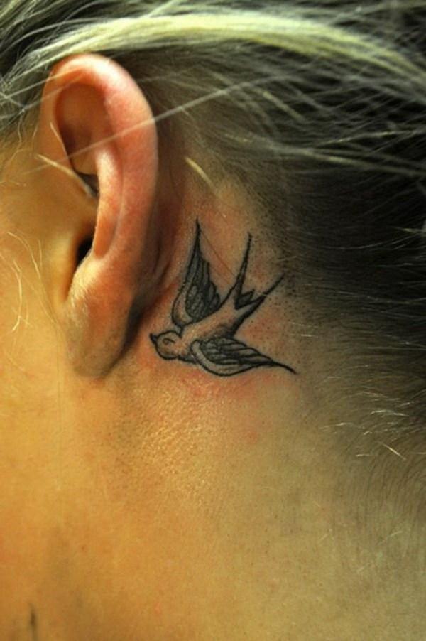 47 Swallow in Grey Ear Tattoo