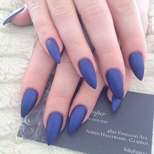 48 Dark Matte Stiletto Nails