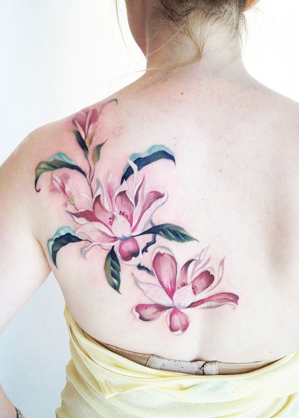 48 Pink Magnolia Flower Tattoo on The Back