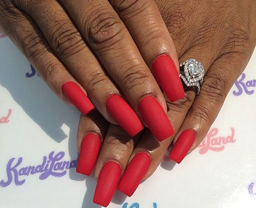 5 Long Red Matte Nails