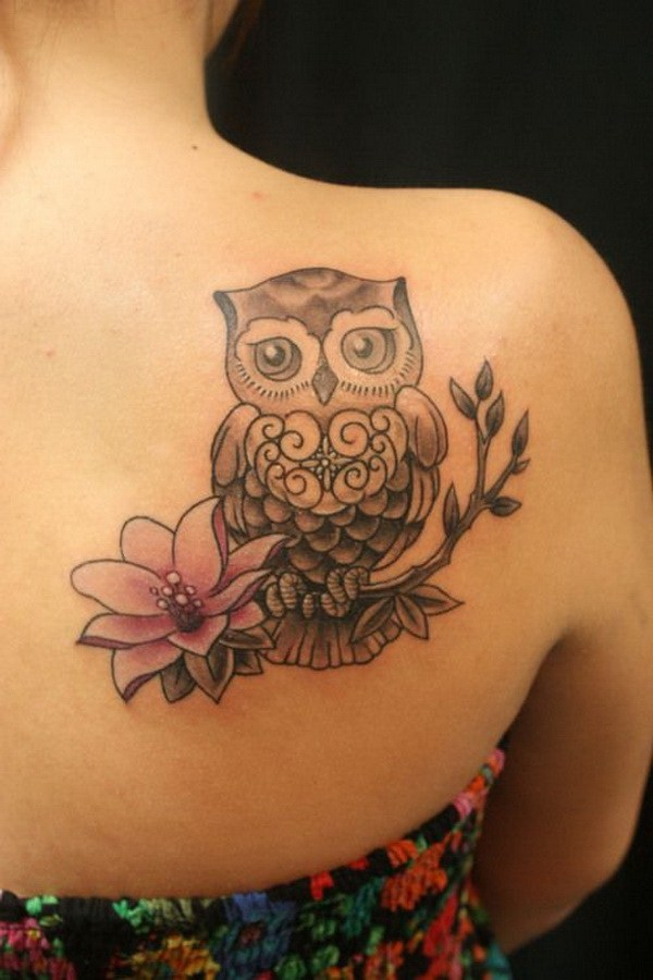 5 Lotus and Owl Tattoo on Upper Side Back