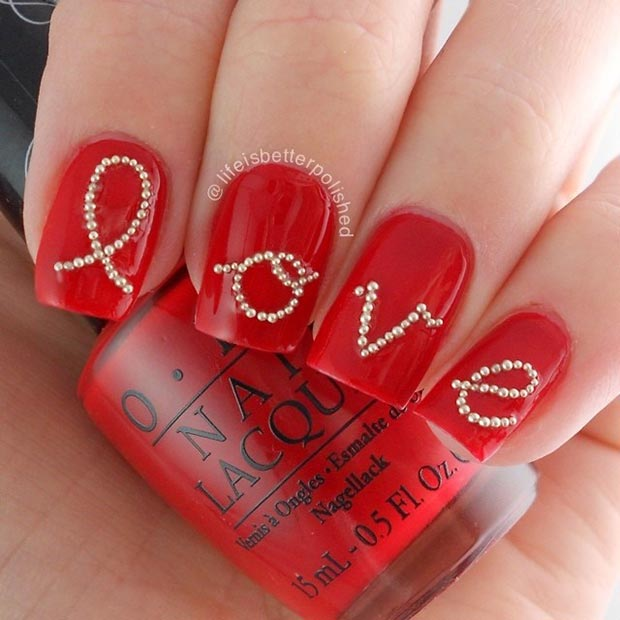 5 Red Love Nails
