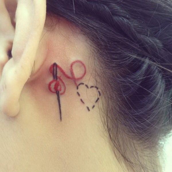 51 Heart Thread and Needle Ear Tattoo